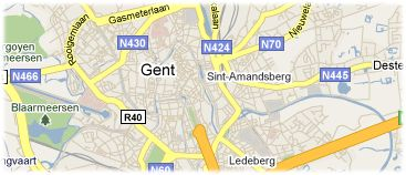 Hotels in Ghent on the map