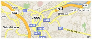 Hotels in Liège on the map