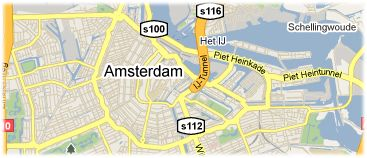 Hotels in Amsterdam on the map