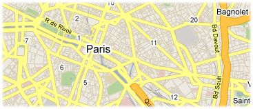 Hotels in Paris on the map