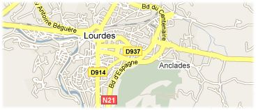 Hotels in Lourdes op kaart