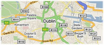 Hotels in Dublin op kaart