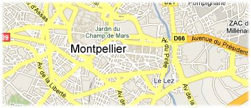 Hotels in Montpellier on the map