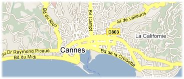 Hotels in Cannes on the map