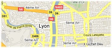 Hotels in Lyon on the map
