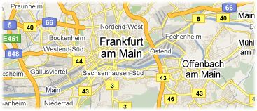 Hotels in Frankfurt on the map