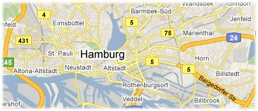 Hotels in Hamburg on the map