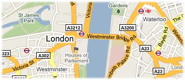 Hotels in London on the map
