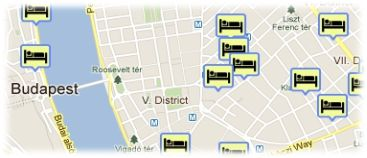 Hotels in Budapest on the map