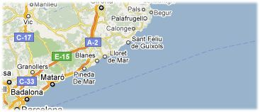 Hotels in Costa Brava on the map