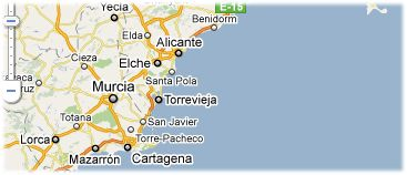Hotels in Costa Blanca op kaart