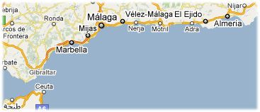 Hotels in Costa del Sol on the map