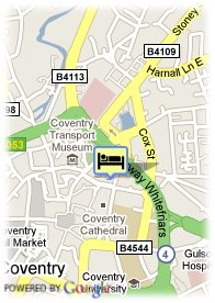 map-Hotel Britannia Coventry
